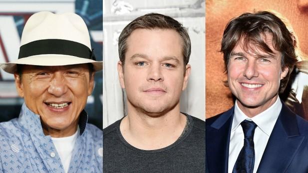 Jackie Chan, Matt Damon, e Tom Cruise aparecem na sequência da lista.