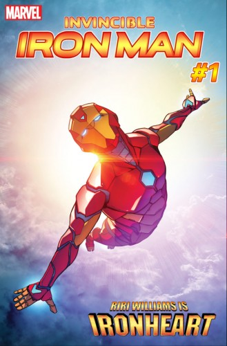 "Arte do volume da série ""Invicible Iron Man""."
